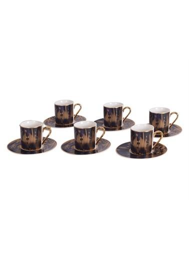 Sembol Lacivert Buğulu Desen 6 Lı Kahve Takımı Renkli
